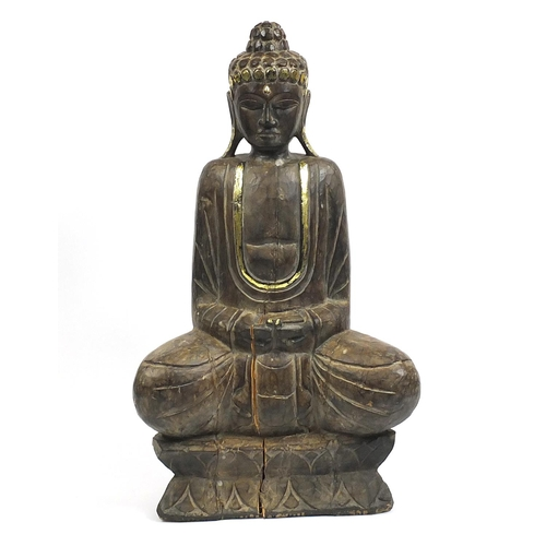 Very large Chino-Tibetan wood carving of seated Buddha, 121cm high