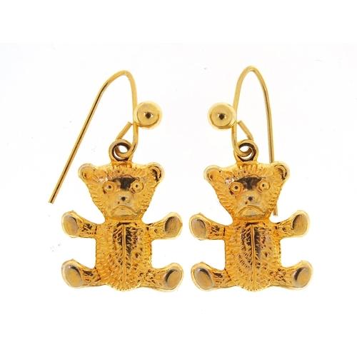Pair of 9ct gold clad Teddy bear earrings, 1.5cm high, 0.4g