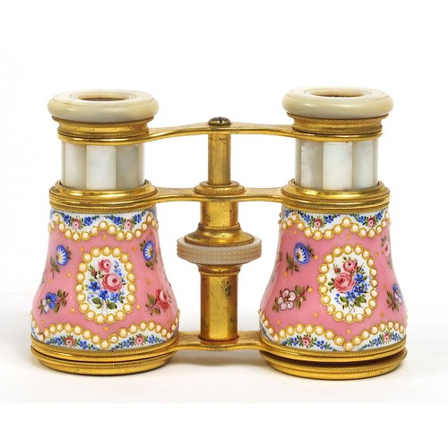 1 - Pair of 19th century gilt brass jewelled opera glasses with velvet case, mother of pearl eye pieces ...