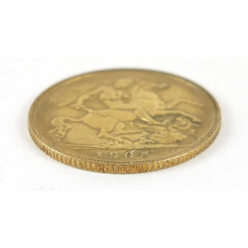 341 - Edward VII 1905 gold half sovereign - this lot is sold without buyer's premium, the hammer price is ...