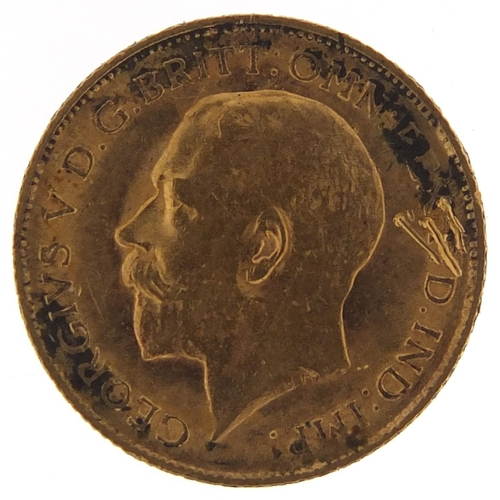 332 - George V 1912 gold half sovereign - this lot is sold without buyer's premium, the hammer price is th...