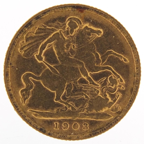 318 - Edward VII 1903 gold half sovereign - this lot is sold without buyer's premium, the hammer price is ...