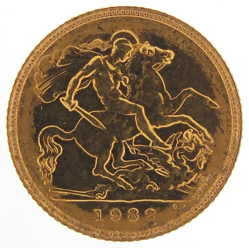 309 - Elizabeth II 1982 gold half sovereign - this lot is sold without buyer's premium, the hammer price i...