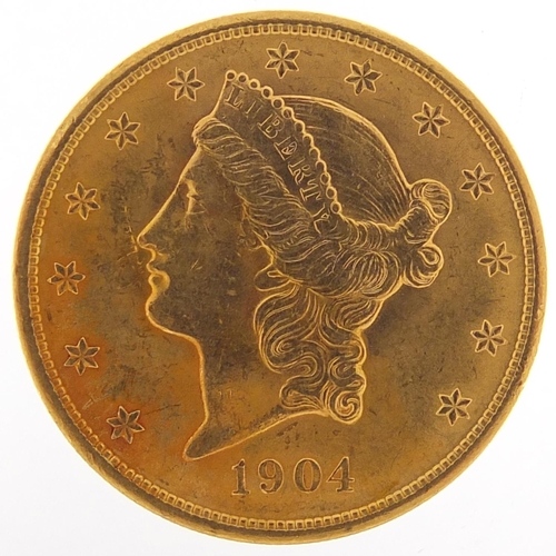 350 - United States of America 1904 gold twenty dollars, Liberty head to the reverse, 33.6g - this lot is ...