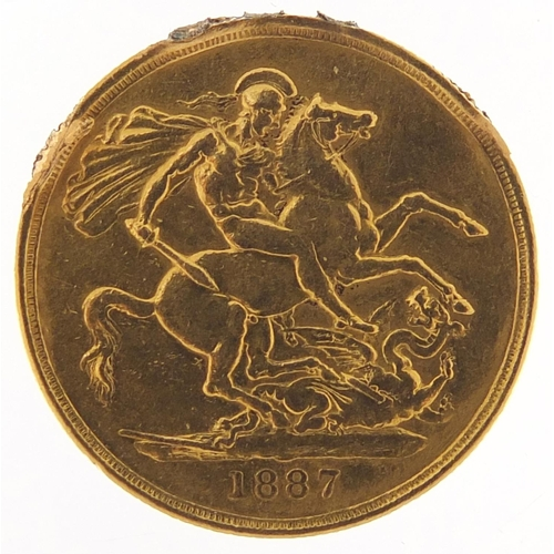 310 - Queen Victoria Jubilee Head 1887 gold double sovereign - this lot is sold without buyer's premium, t...