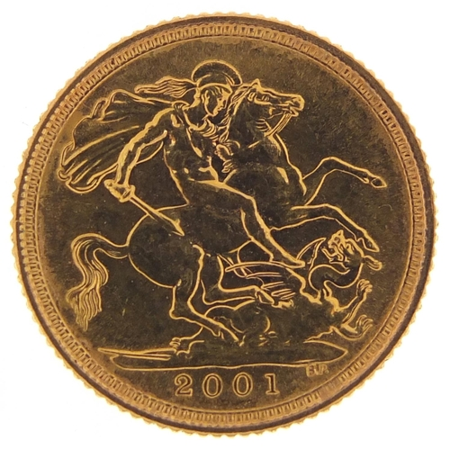 364 - Elizabeth II 2001 gold half sovereign - this lot is sold without buyer's premium, the hammer price i...