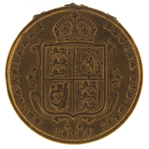 367 - Queen Victoria Jubilee Head 1887 shield back gold half sovereign - this lot is sold without buyer's ...