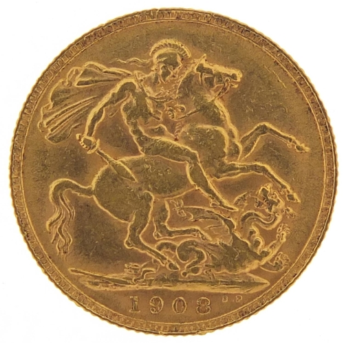 316 - Edward VII 1908 gold sovereign - this lot is sold without buyer's premium, the hammer price is the p...