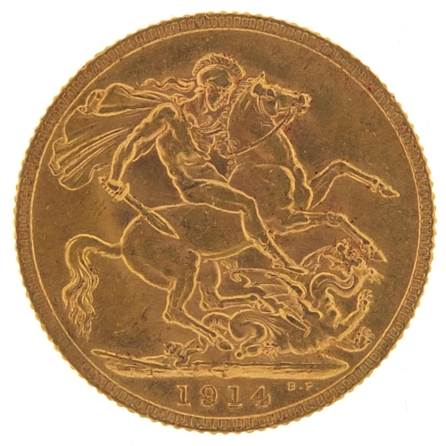 357 - George V 1914 gold sovereign - this lot is sold without buyer's premium, the hammer price is the pri...