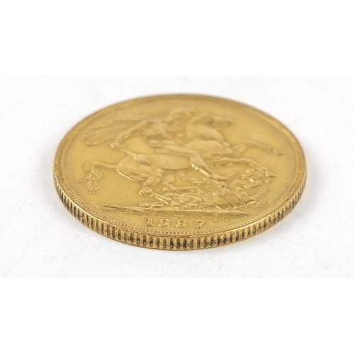 314 - Queen Victoria Jubilee Head 1887 gold sovereign - this lot is sold without buyer's premium, the hamm...