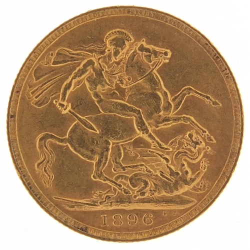 Queen Victoria 1896 gold sovereign - this lot is sold without buyer's premium, the hammer price is the price you pay