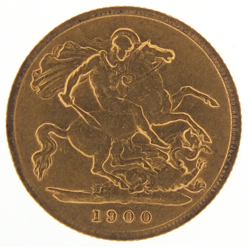 337 - Queen Victoria 1900 gold half sovereign - this lot is sold without buyer's premium, the hammer price...