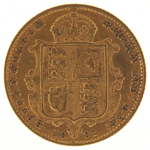 Queen Victoria Jubilee Head 1892 gold half sovereign - this lot is sold without buyer's premium, the hammer price is the price you pay