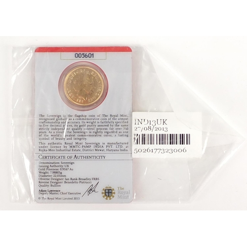 330 - Sealed Elizabeth II 2013 gold sovereign with certificate  numbered 005601 - this lot is sold without...