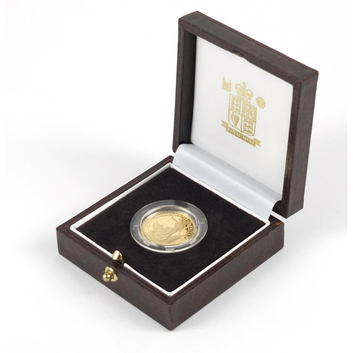 340 - Elizabeth II 2006 Britannia gold proof £25 coin with boxed and certificate numbered 0347 - this lot ...