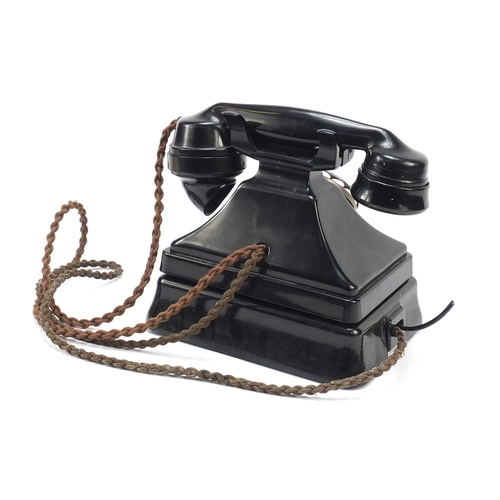 9 - Vintage black Bakelite pyramid telephone on stand...