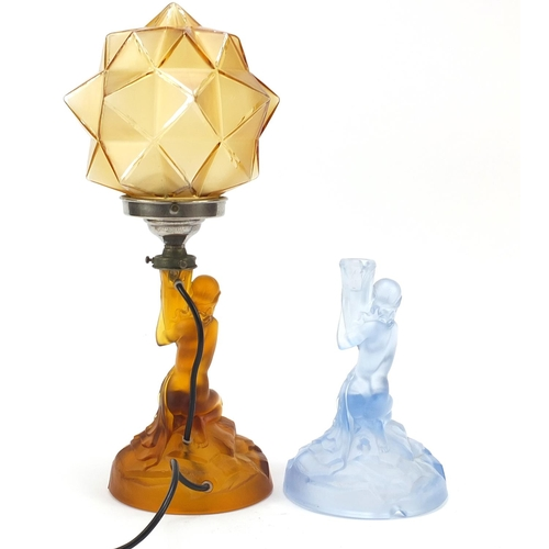 5 - Walther & Sohne, two German Art Deco glass Rotterdam lamps including one with shade, the largest 41c...