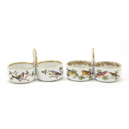 3 - Meissen, pair of German porcelain twin divisional salts hand painted with birds and insects amongst ...