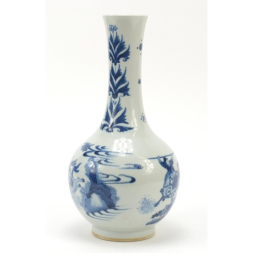 28 - Good Chinese blue and white porcelain vase hand painted with warriors on horseback in a landscape, 3...