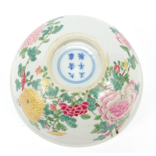 31 - Good Chinese porcelain bowl finely hand painted with blossoming flowers, six figure character marks ...