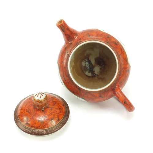 29 - Chinese porcelain faux bois ground teapot, finely hand painted in the famille rose palette with two ...