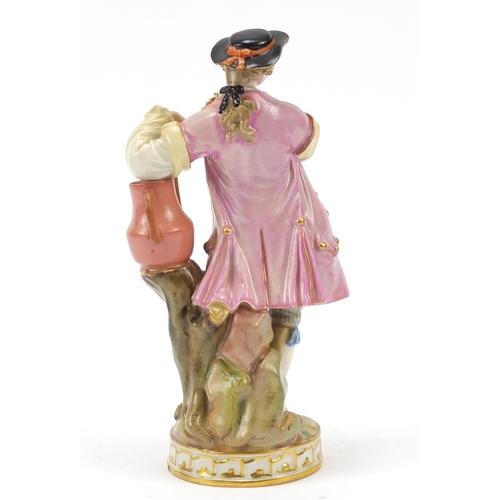 1 - Meissen, 19th century German porcelain figure of a gentlemen holding flowers, blue crossed sword mar...