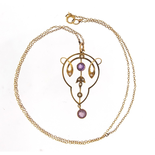 17 - Art Nouveau unmarked gold amethyst and seed pearl pendant on a 9ct gold necklace, 4cm high and 40cm ...