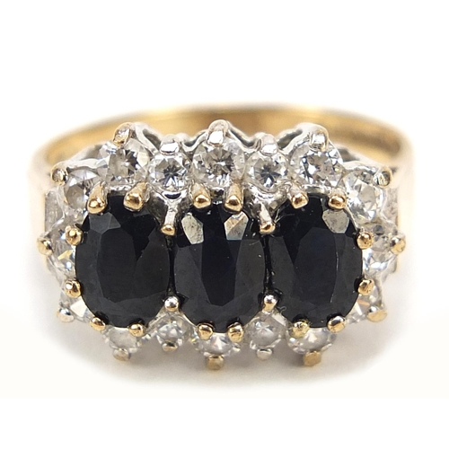 18 - 9ct gold sapphire and cubic zirconia ring, size L, 2.9g...