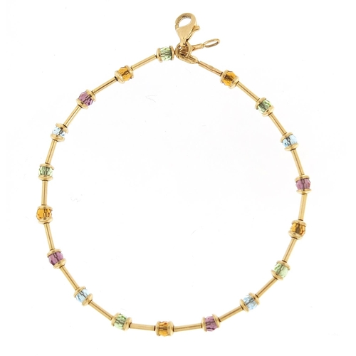 16 - 9ct gold multi gem bracelet, 18cm in length, 3.4g