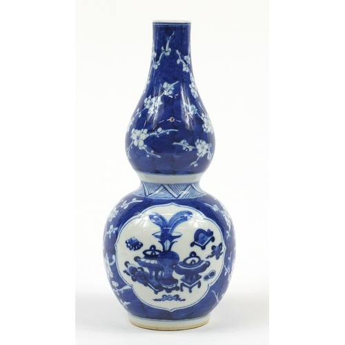 34 - Chinese blue and white porcelain double gourd vase hand painted with Daoist emblems and lucky object...