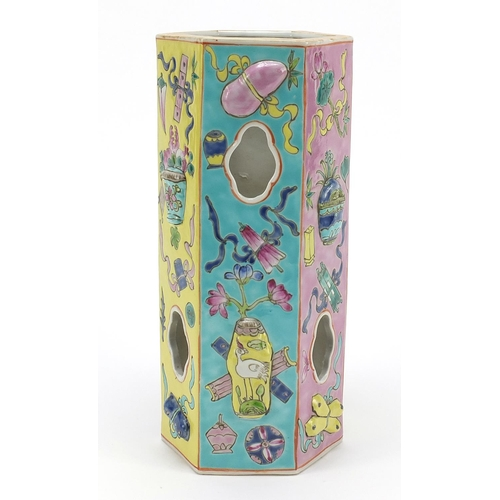 30 - Chinese porcelain hexagonal vase decorated in relief and hand painted in the famille rose palette wi...