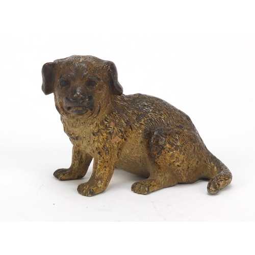 22 - Austrian cold painted bronze puppy possibly by Franz Xaver Bergmann, impressed Depose and lozenge ma...