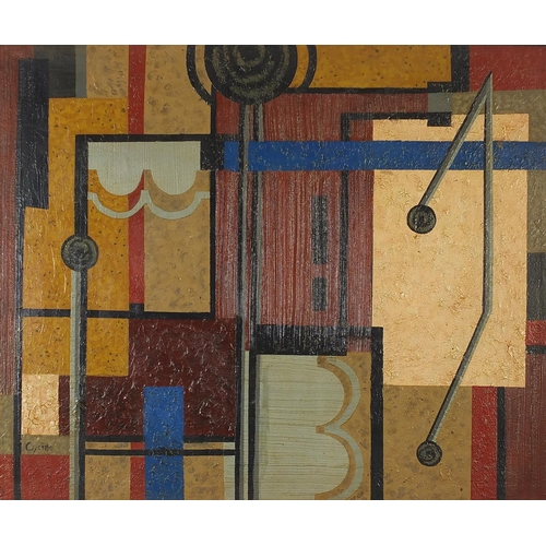 41 - Abstract composition, geometric shapes, Continental school oil on board, unframed, 94cm x 79cm...