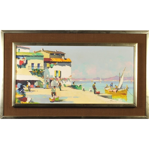 38 - Cecil Rochfort D'oyly-John - Continental harbour, oil on canvas, mounted and framed, 70cm x 35cm exc...