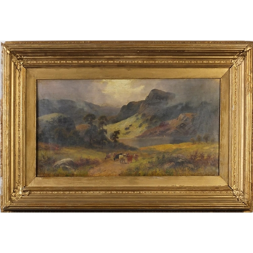 40 - Manner of Thomas Sidney Cooper - Highland scene with cattle before water, Victorian oil on canvas bo...
