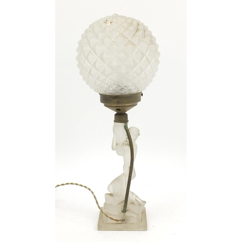 6 - Attributed to Riedel, German Art Deco frosted glass figural lamp base and shade, 43.5cm high...