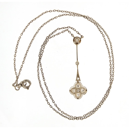 43 - Antique unmarked gold diamond pendant on a white metal necklace, housed in an Asprey & Company toole...