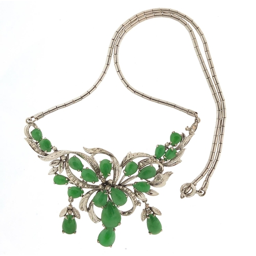 11 - Chinese 18ct white gold and jade necklace, 34cm in length, 18.6g...