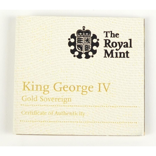 152 - George IV 1824 gold sovereign with box and certificate - this lot is sold without buyer's premium, t...