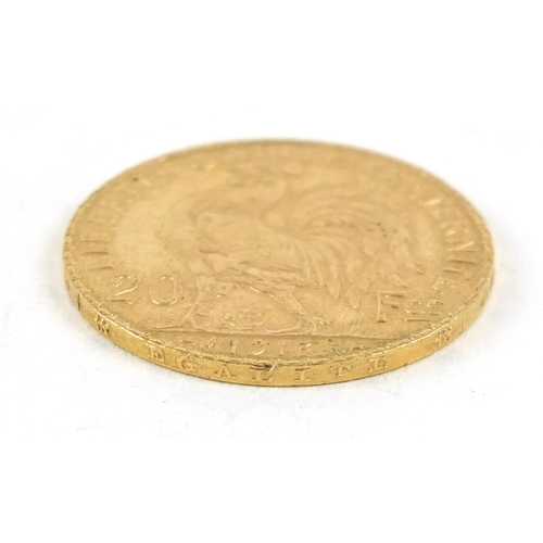 155 - French 1913 gold twenty francs, 6.4g - this lot is sold without buyer's premium, the hammer price is...
