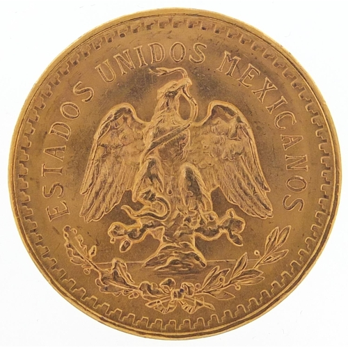 156 - Mexican 1947 gold fifty pesos, 41.6g - this lot is sold without buyer's premium, the hammer price is...