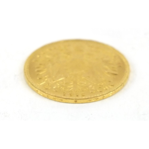 158 - Austrian 1912 gold ten corona, 3.4g - this lot is sold without buyer's premium, the hammer price is ...