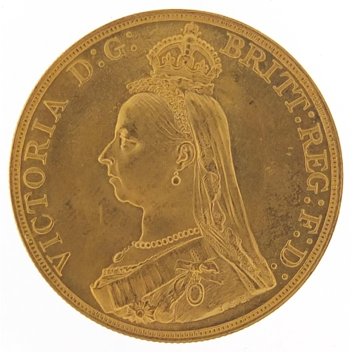 160 - Queen Victoria Jubilee Head 1887 gold five pound coin, 39.9g - this lot is sold without buyer's prem...