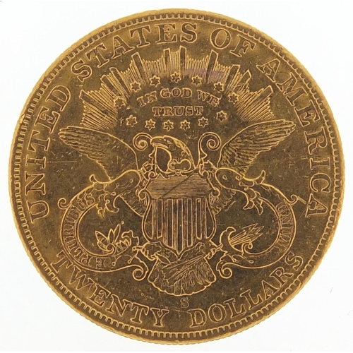 165 - United States of America 1902 gold twenty dollars, Liberty head to the reverse, 33.6g - this lot is ...