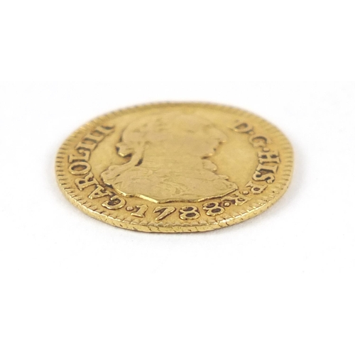166 - Spanish Carlos III 1788 gold half escudo, 1.6g  - this lot is sold without buyer's premium, the hamm...