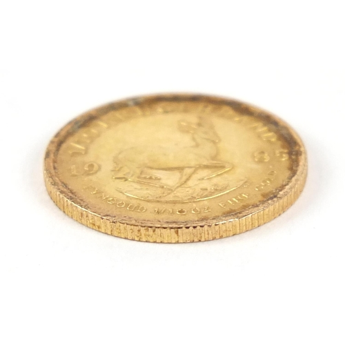 168 - South African 1985 gold 1/10th krugerrand, 3.4g - this lot is sold without buyer's premium, the hamm...