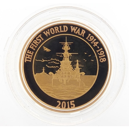 170 - Elizabeth II 2015 gold proof two pound coin commemorating the 100th Anniversary of First World War R...