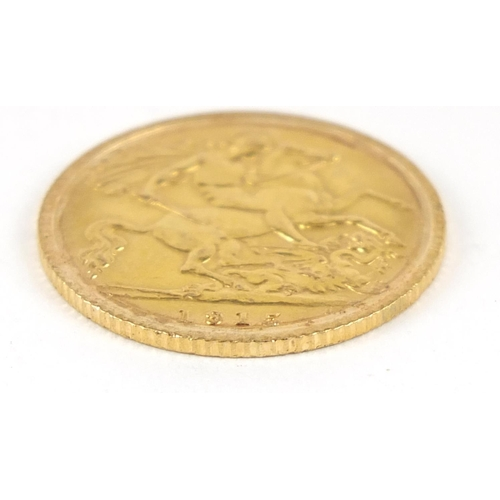 171 - George V 1915 gold half sovereign - this lot is sold without buyer's premium, the hammer price is th...