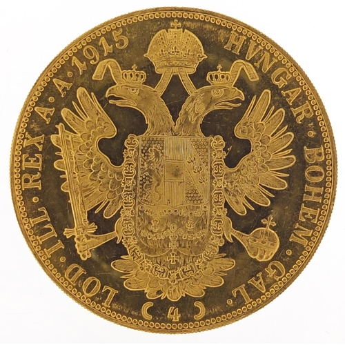 180 - Austrian 1915 gold four ducat, 13.9g - this lot is sold without buyer's premium, the hammer price is...