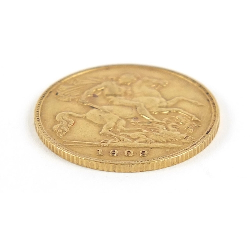 184 - Edward VII 1909 gold half sovereign - this lot is sold without buyer's premium, the hammer price is ...